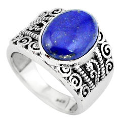 6.57cts natural blue lapis lazuli 925 silver solitaire ring size 7 p55907