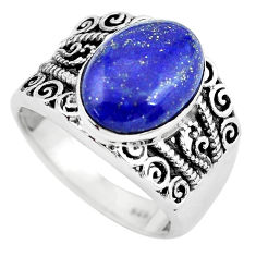 7.02cts natural blue lapis lazuli 925 silver solitaire ring size 9 p55908
