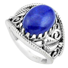 6.53cts natural blue lapis lazuli 925 silver solitaire ring size 8 p55966