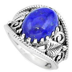 6.96cts natural blue lapis lazuli 925 silver solitaire ring size 8 p55968