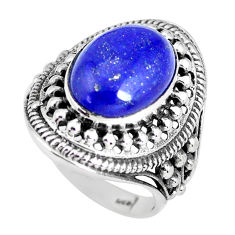 5.98cts natural blue lapis lazuli 925 silver solitaire ring size 7 p56027