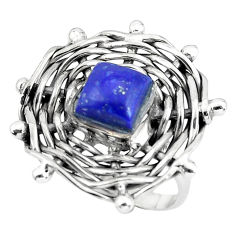 3.31cts natural blue lapis lazuli 925 silver solitaire ring size 8 p60911