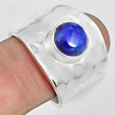 3.16cts natural blue lapis lazuli 925 silver solitaire ring size 8 p70110