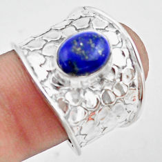 3.23cts natural blue lapis lazuli 925 silver solitaire ring size 8 p74841
