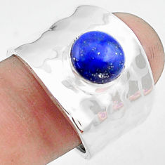 3.39cts natural blue lapis lazuli 925 silver solitaire ring size 8.5 p74843