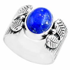 4.21cts natural blue lapis lazuli 925 silver solitaire ring size 7 p77171