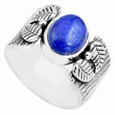 4.47cts natural blue lapis lazuli 925 silver solitaire ring size 8.5 p77172