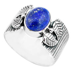 4.21cts natural blue lapis lazuli 925 silver solitaire ring size 9.5 p77173