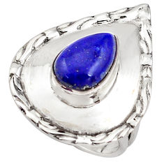 4.71cts natural blue lapis lazuli 925 silver solitaire ring size 6 p85828