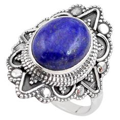 5.41cts natural blue lapis lazuli 925 silver solitaire ring size 7.5 p85933