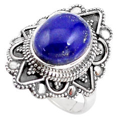5.30cts natural blue lapis lazuli 925 silver solitaire ring size 8.5 p85934