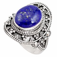5.41cts natural blue lapis lazuli 925 silver solitaire ring size 8 p85942