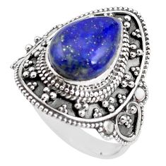 5.28cts natural blue lapis lazuli 925 silver solitaire ring size 9 p85958