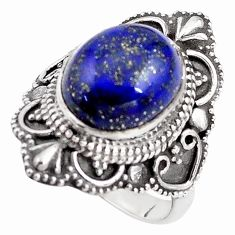 5.52cts natural blue lapis lazuli 925 silver solitaire ring size 6.5 p85963