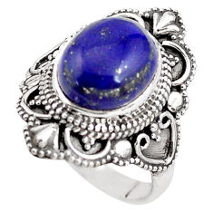 5.30cts natural blue lapis lazuli 925 silver solitaire ring size 8 p85965