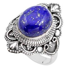 5.30cts natural blue lapis lazuli 925 silver solitaire ring size 8 p85967