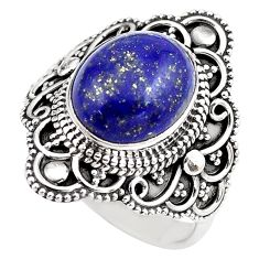 5.31cts natural blue lapis lazuli 925 silver solitaire ring size 8 p86874