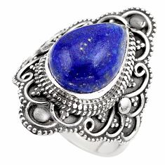 5.53cts natural blue lapis lazuli 925 silver solitaire ring size 6 p86875