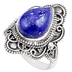 5.52cts natural blue lapis lazuli 925 silver solitaire ring size 7 p86895
