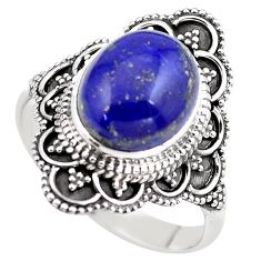 5.74cts natural blue lapis lazuli 925 silver solitaire ring size 10 p86911