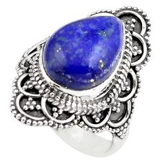 5.12cts natural blue lapis lazuli 925 silver solitaire ring size 5.5 p86912