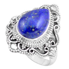 5.53cts natural blue lapis lazuli 925 silver solitaire ring size 8 p86929