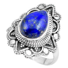 5.52cts natural blue lapis lazuli 925 silver solitaire ring size 9 p86930