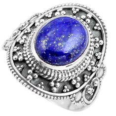 5.53cts natural blue lapis lazuli 925 silver solitaire ring size 9 p86932