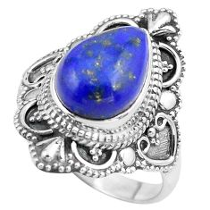 5.53cts natural blue lapis lazuli 925 silver solitaire ring size 8.5 p86933