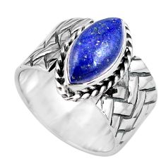 5.93cts natural blue lapis lazuli 925 silver solitaire ring size 9 p87965