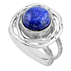 4.92cts natural blue lapis lazuli 925 silver solitaire ring size 7 p91053