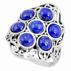 6.96cts natural blue lapis lazuli 925 sterling silver ring jewelry size 8 p61145