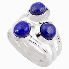 3.41cts natural blue lapis lazuli 925 sterling silver ring size 7.5 p85808