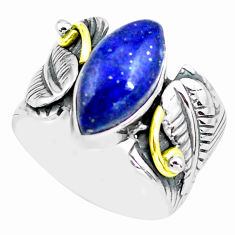 6.32cts natural blue lapis lazuli marquise silver solitaire ring size 7.5 p77186