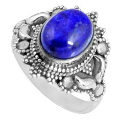 3.92cts natural blue lapis lazuli oval 925 sterling silver ring size 7.5 d32590