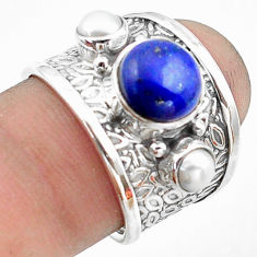 5.00cts natural blue lapis lazuli pearl 925 sterling silver ring size 7 p74822