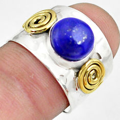 3.28cts natural blue lapis lazuli silver 14k gold solitaire ring size 7.5 p81068