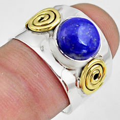 2.72cts natural blue lapis lazuli silver 14k gold solitaire ring size 7 p81069