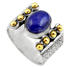 4.21cts natural blue lapis lazuli silver 14k gold solitaire ring size 7.5 p91167