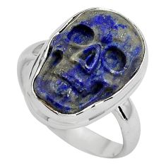 9.99cts natural blue lapis lazuli silver skull solitaire ring size 7.5 p88269