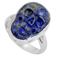9.56cts natural blue lapis lazuli silver skull solitaire ring size 6.5 p88270