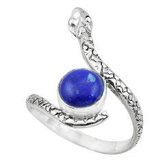 3.01cts natural blue lapis lazuli silver snake solitaire ring size 8.5 p62947
