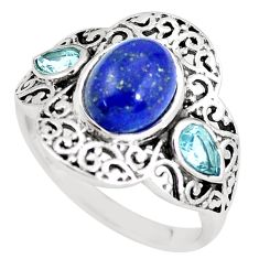 4.91cts natural blue lapis lazuli topaz 925 silver ring jewelry size 7 p61258