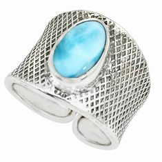 4.40cts natural blue larimar 925 silver adjustable solitaire ring size 7 p66912