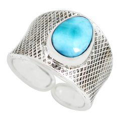 4.30cts natural blue larimar 925 silver adjustable solitaire ring size 9 p71311
