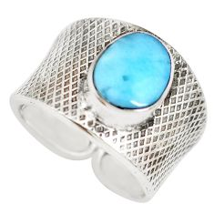 4.52cts natural blue larimar 925 silver adjustable solitaire ring size 7 p71315