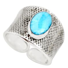 3.51cts natural blue larimar 925 silver adjustable solitaire ring size 8 p71318