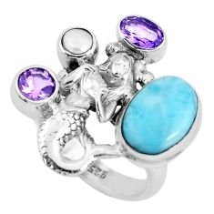 7.11cts natural blue larimar 925 silver fairy mermaid ring size 7 p47716