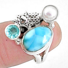 7.07cts natural blue larimar 925 silver hand of god hamsa ring size 7 p42691