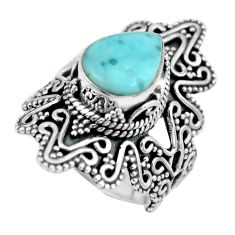 Clearance Sale- 5.08cts natural blue larimar 925 silver solitaire ring jewelry size 8.5 d32266
